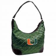 Miami Hurricanes Green NCAA Quilted Hobo Handbag