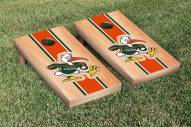 Miami Hurricanes Hardcourt Stripe Cornhole Game Set
