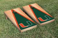 Miami Hurricanes Hardcourt Triangle Cornhole Game Set