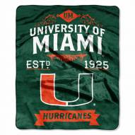 Miami Hurricanes Label Raschel Throw Blanket