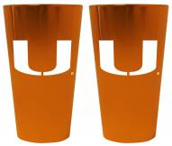 Miami Hurricanes Lusterware Pint Glass - Set of 2