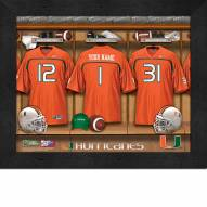 Miami Hurricanes Personalized Locker Room 11 x 14 Framed Photograph