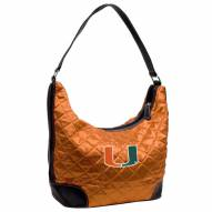 Miami Hurricanes Quilted Hobo Handbag