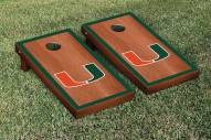 Miami Hurricanes Rosewood Stained Border Cornhole Game Set