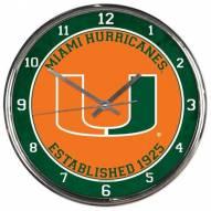 Miami Hurricanes Round Chrome Wall Clock
