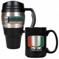 Miami Hurricanes Travel Mug & Coffee Mug Set