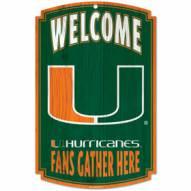 Miami Hurricanes Wood Sign