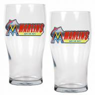 Miami Marlins 20 oz. Pub Glass - Set of 2