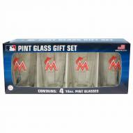 Miami Marlins 4 Pack Pint Glass Set