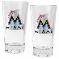 Miami Marlins Baseball Sculpted Bottom Pint Glass Set