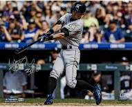 """Miami Marlins Ichiro '3000 Hit Swinging' w/ """"3000"""" Signed 16"""" x 20"""" Photo"""