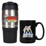 Miami Marlins Travel Tumbler & Coffee Mug Set