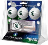 Michigan State Spartans Golf Ball Gift Pack with Kool Tool