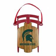 Michigan State Spartans Metal Sled Tree Ornament