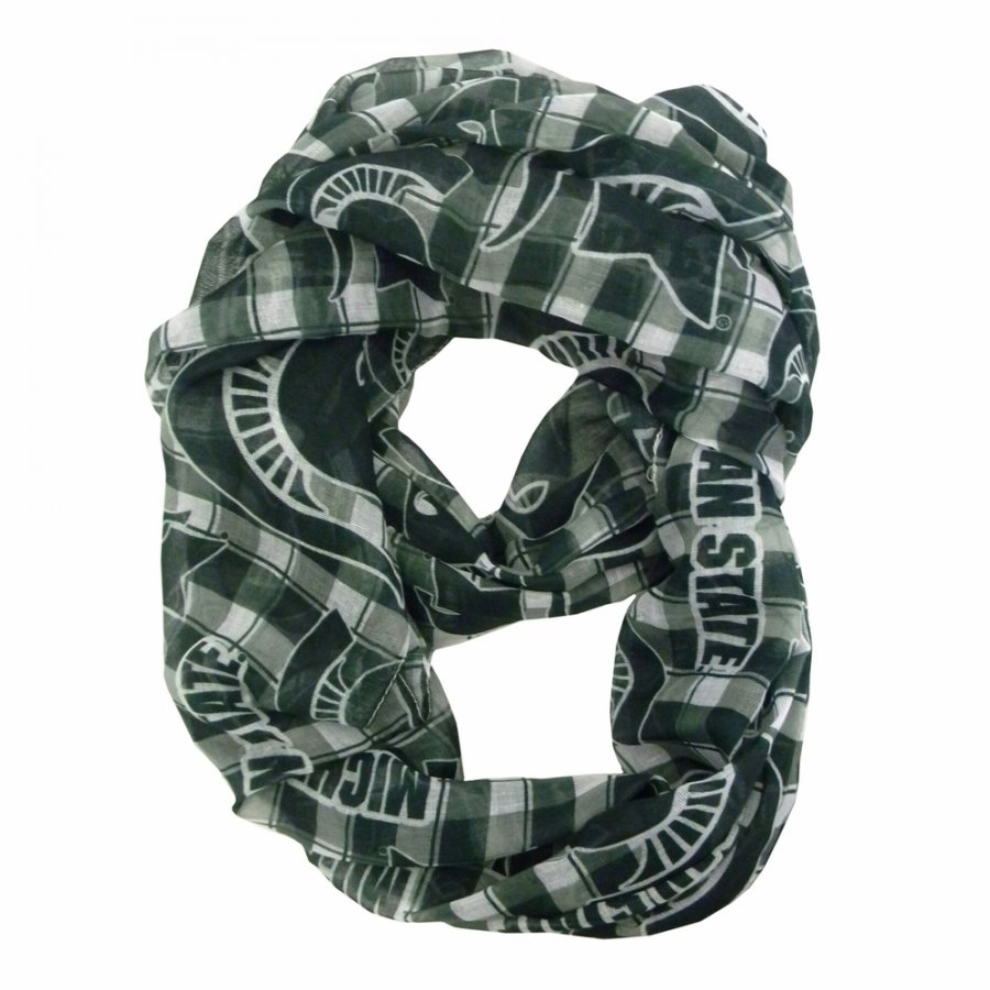Michigan State Spartans Plaid Sheer Infinity Scarf