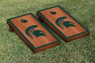 Michigan State Spartans Rosewood Stained Border Cornhole Game Set