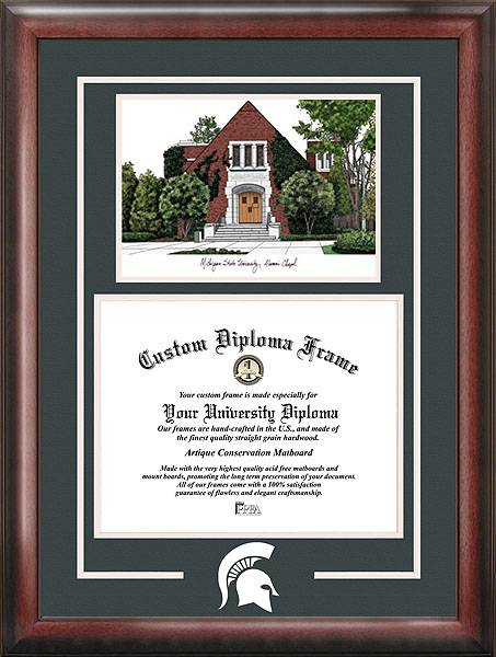 be proud of your accomplishments and show your school spirit too with the michigan state spartans spirit diploma frame with campus image - Diploma Frame Size