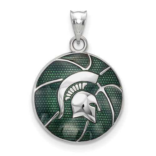 Michigan state spartans sterling silver enameled basketball pendant the michigan state spartans sterling silver enameled basketball pendant is the perfect accessory to finish your game day outfit mozeypictures Images