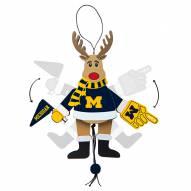 Michigan Wolverines Cheering Reindeer Ornament