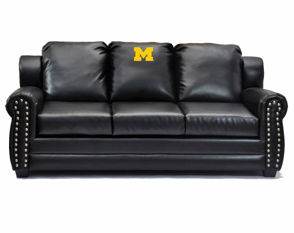 Michigan wolverines coach leather sofa for Leather sofa michigan