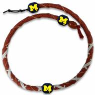 Michigan Wolverines Leather Football Necklace