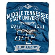 Middle Tennessee State Blue Raiders Label Raschel Throw Blanket