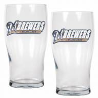 Milwaukee Brewers 20 oz. Pub Glass - Set of 2