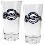 Milwaukee Brewers Baseball Sculpted Bottom Pint Glass Set