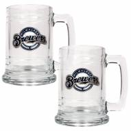 Milwaukee Brewers MLB 2-Piece Glass Tankard Beer Mug Set