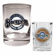 Milwaukee Brewers MLB 14 Oz Rocks Glass & Square Shot Glass 2-Piece Set