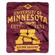 Minnesota Golden Gophers Label Raschel Throw Blanket