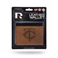 Minnesota Twins Brown Leather Trifold Wallet