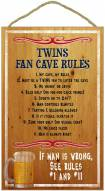 Minnesota Twins Fan Cave Rules Wood Sign