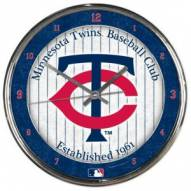 Minnesota Twins Round Chrome Wall Clock