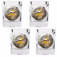 Minnesota Vikings Open Field 4-Piece RealTree Square Shot Glass Set