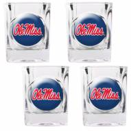 Mississippi Rebels 4 Piece Square Shot Glasses