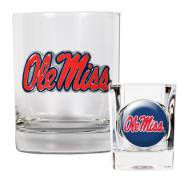 Mississippi Rebels Rocks Glass & Shot Glass Set