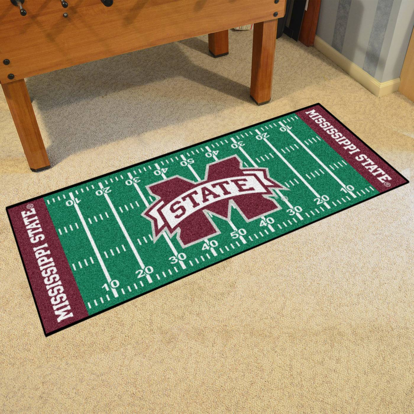 Nebraska Cornhuskers Blackshirts Football Field Runner Rug: Mississippi State Bulldogs Football Field Runner Rug