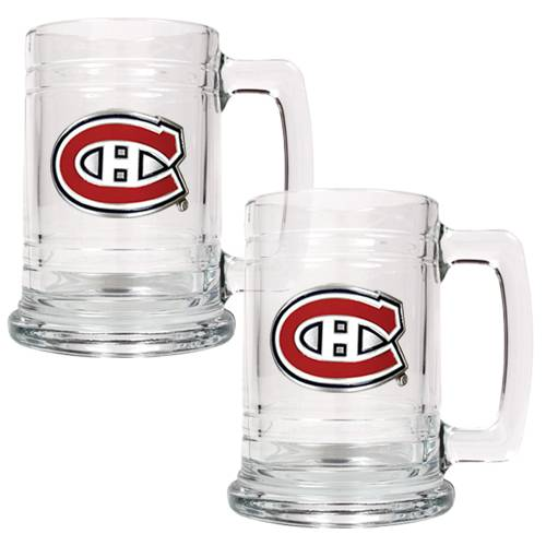 this classically designed montreal canadiens 2piece 15 oz set is decorated with handcrafted official team logos show off your favorite team while you - Glass Beer Mugs