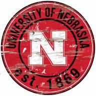 "Nebraska Cornhuskers 24"""" Round Wood Sign"