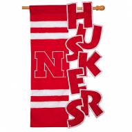 "Nebraska Cornhuskers 28"" x 44"" Applique Flag"