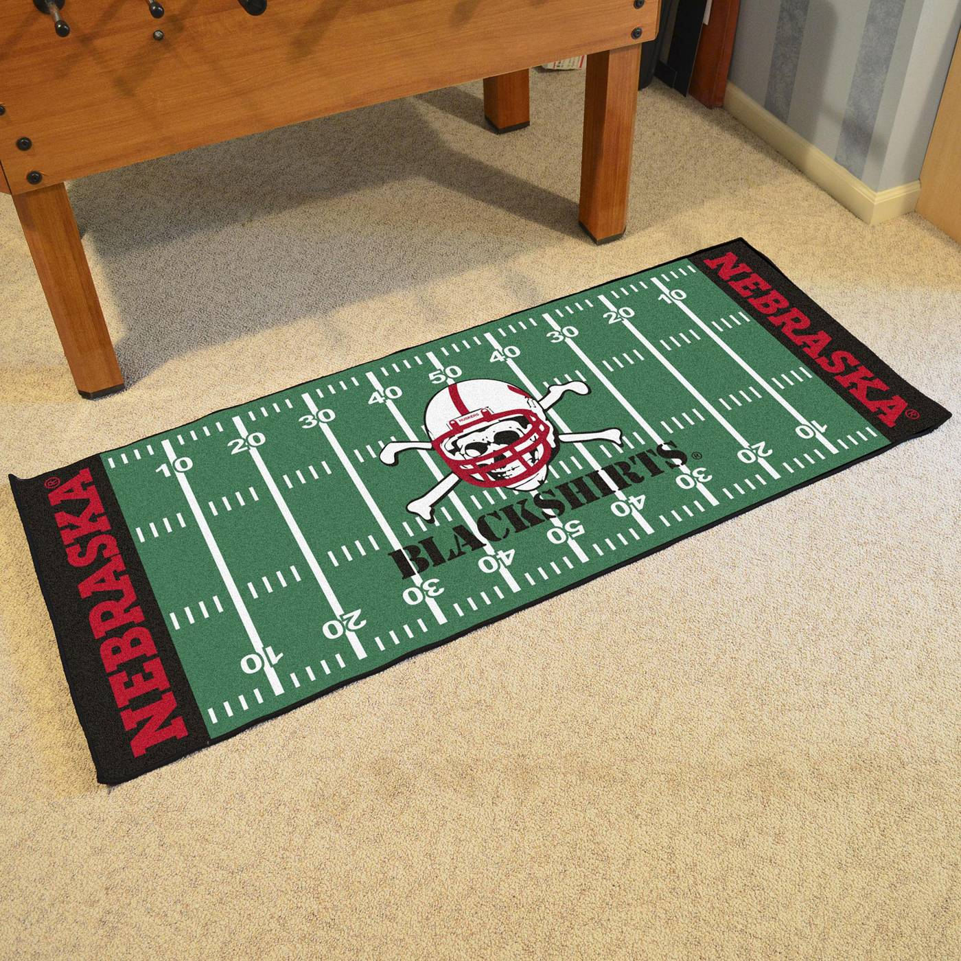 Nebraska Cornhuskers Blackshirts Football Field Runner Rug: Nebraska Cornhuskers Blackshirts Football Field Runner Rug