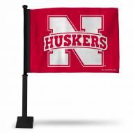 Nebraska Cornhuskers Car Flag with Black Pole