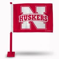 Nebraska Cornhuskers Car Flag with Red Pole
