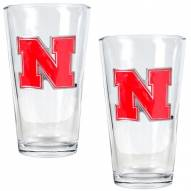 Nebraska Cornhuskers College 16 Oz. Pint Glass 2-Piece Set