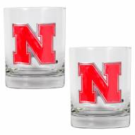 Nebraska Cornhuskers College 2-Piece 14 Oz. Rocks Glass Set