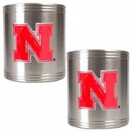 Nebraska Cornhuskers College Stainless Steel Can Holder 2-Piece Set