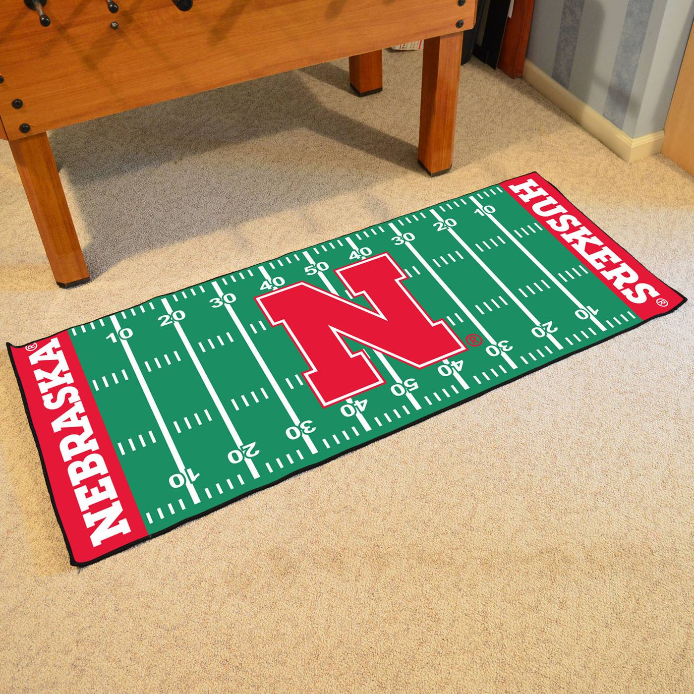 Nebraska Cornhuskers Blackshirts Football Field Runner Rug: Nebraska Cornhuskers Football Field Runner Rug