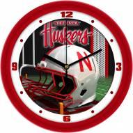 Nebraska Cornhuskers Football Helmet Wall Clock