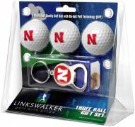 Nebraska Cornhuskers Golf Ball Gift Pack with Key Chain
